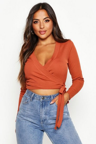 Terracotta Petite Rib Wrap Front Tie Detail Top