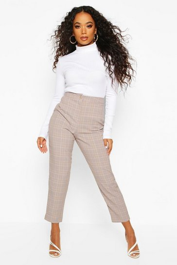 Womens Stone Petite Checked Tapered Trousers