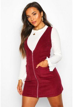 Womens Berry Petite Cord Zip Through Pinafore Dress
