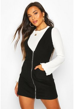 Womens Black Petite Cord Zip Through Pinafore Dress