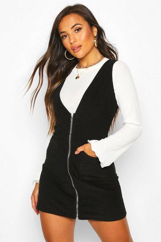 Petite Cord Zip Through Pinafore Dress