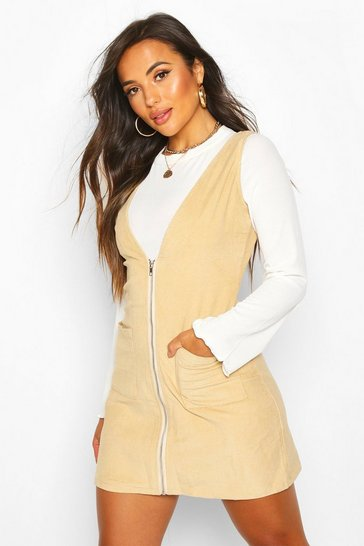 Womens Stone Petite Cord Zip Through Pinafore Dress