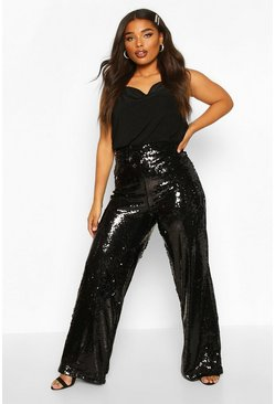 Black Plus Wide Leg Sequin Pants