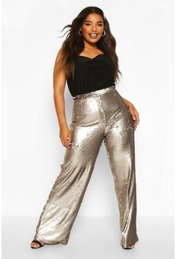 Gun metal Plus Wide Leg Sequin Pants