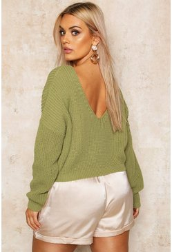 Womens Olive Plus V Back Crop Jumper