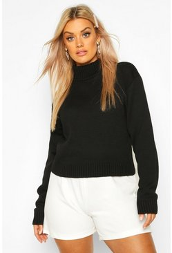 Womens Black Plus Roll Neck Crop Jumper