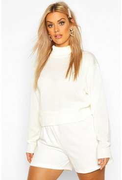 Womens Ecru Plus Roll Neck Crop Jumper