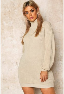 Womens Stone Plus Roll Neck Jumper Dress