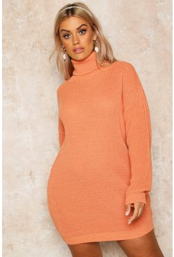 Apricot Plus Roll Neck Jumper Dress