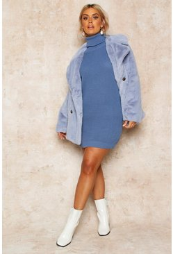 Womens Slate blue Plus Roll Neck Jumper Dress