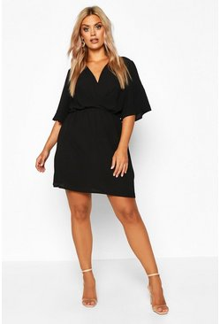Womens Black Plus Angel Sleeve Smock Dress