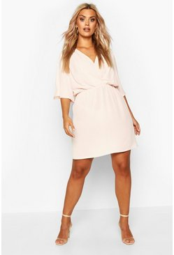 Womens Blush Plus Angel Sleeve Smock Dress