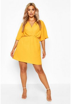 Womens Mustard Plus Angel Sleeve Smock Dress