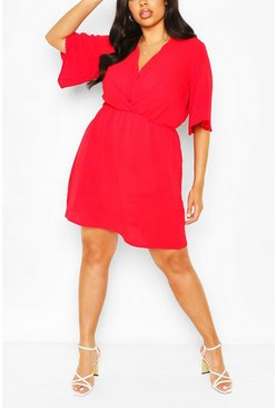 Red Plus Angel Sleeve Smock Dress