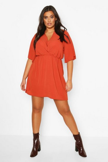 Rust Plus Angel Sleeve Smock Dress