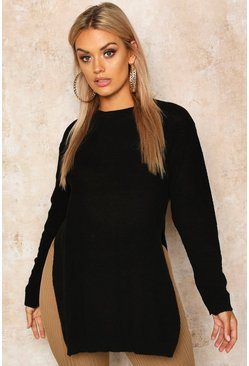 Womens Black Plus Side Split Moss Stitch Tunic Jumper