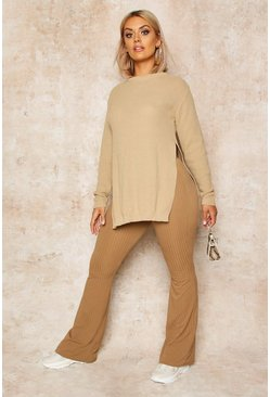 Womens Stone Plus Side Split Moss Stitch Tunic Jumper
