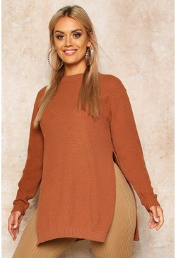 Pullover a tunica a punto riso con spacchi laterali Plus, Toffee