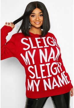 Womens Red Plus 'Sleigh My Name' Slogan Christmas Jumper