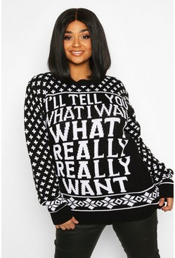 Pull de Noël « What I Really Really Want » Plus, Noir