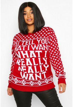 "Jersey navideño ""What I Really Want"" Plus, Rojo"
