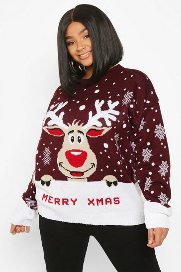 Berry Plus Merry Christmas Reindeer Jumper