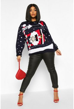 Womens Black Plus 'To The Pub' Christmas Jumper