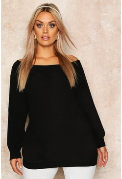 Womens Black Plus Slash Neck Oversized Jumper