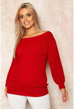 Red Plus Slash Neck Oversized Sweater