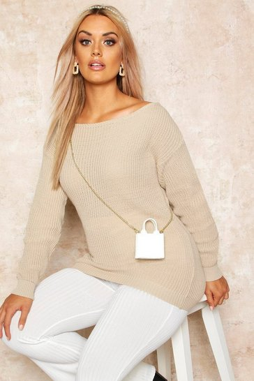 Stone Plus Slash Neck Oversized Jumper