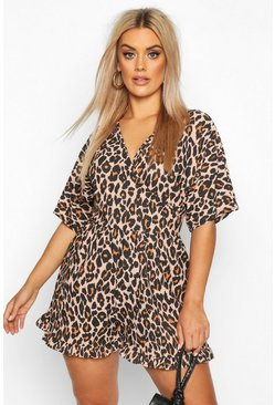 Brown Plus Leopard Print Wrap Front Ruffle Hem Playsuit