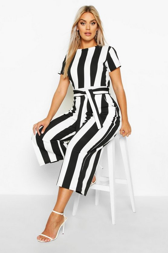 Black Plus Stripe Cap Sleeve Tie Waist Culotte Jumpsuit