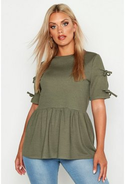 Womens Khaki Plus Tie Sleeve Detail Smock Top