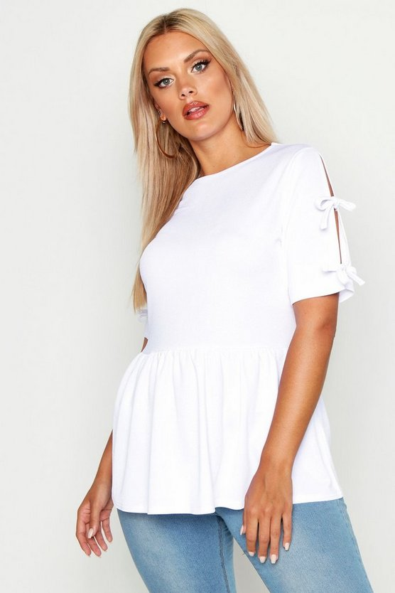 White Plus Tie Sleeve Detail Smock Top