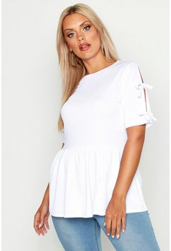 Womens White Plus Tie Sleeve Detail Smock Top
