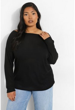 Womens Black Plus Oversized Rib Long Sleeve T-Shirt