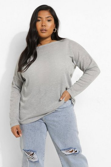 Womens Grey Plus Oversized Rib Long Sleeve T-Shirt