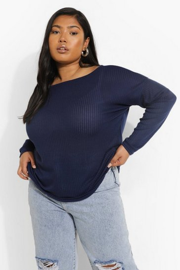 Navy Plus Oversized Rib Long Sleeve T-Shirt