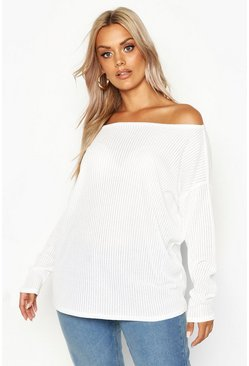 White Plus Oversized Rib Long Sleeve T-Shirt