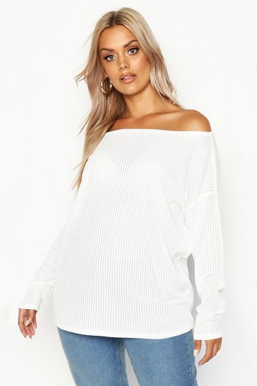 Womens White Plus Oversized Rib Long Sleeve T-Shirt
