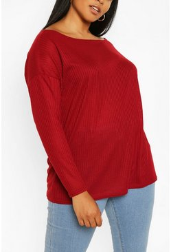 Wine Plus Oversized Rib Long Sleeve T-Shirt