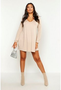 Womens Stone Plus Plunge Long Sleeve Smock Dress