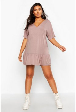 Mocha Plus Kimono Sleeve Smock Dress