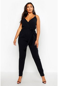 Womens Black Plus Plunge Tie Waist Jumpsuit
