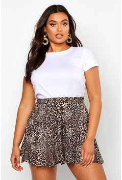 Womens Brown Plus Leopard Floaty Shorts