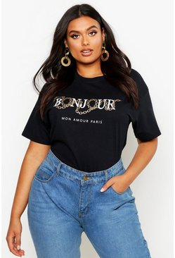 Womens Black Plus Bonjour Slogan T-Shirt