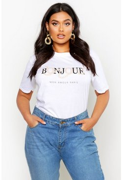 Womens White Plus Bonjour Slogan T-Shirt