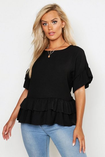 Womens Black Plus Linen Look Woven Ruffle Tiered Smock Top