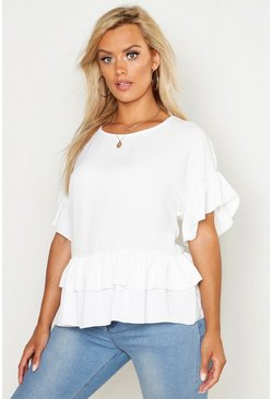 Ivory Plus Linen Look Woven Ruffle Tiered Smock Top