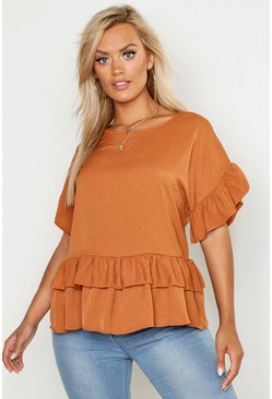 Womens Rust Plus Linen Look Woven Ruffle Tiered Smock Top